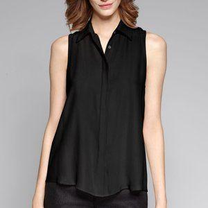 Theory 'Earhart' Black Sleeveless Silk Blouse | SP